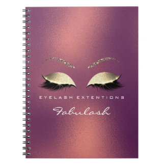 Copper Rose Gold Glitter Eyes Makeup Beauty Luxury Notebook