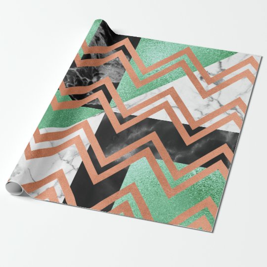 Copper Rose Gold Marble Carrara Chevron Black Mint