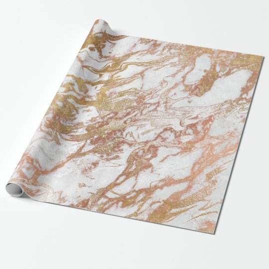 Copper Rose Gold Marble Molten Pastel White Lux