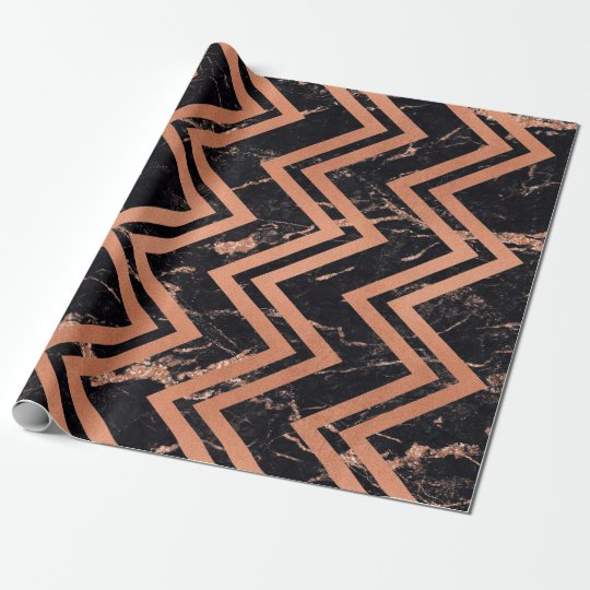 Copper Rose Gold Marble Zig Zag Chevron Black