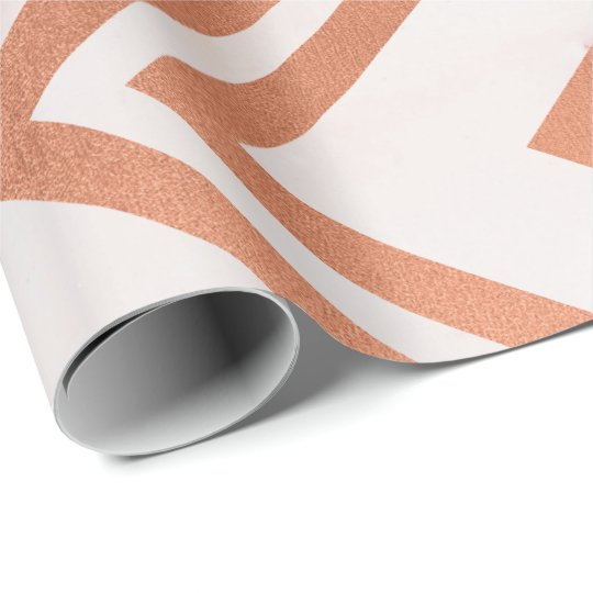 Copper Rose Gold Marble Zig Zag Chevron White Line Wrapping Paper