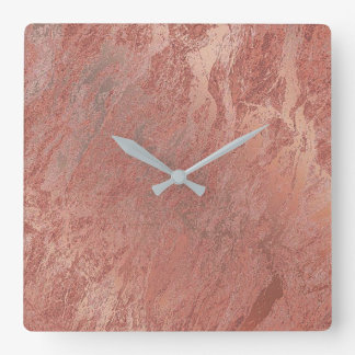 Copper Rose Gold Metallic Coral Marble Minimal Square Wall Clock