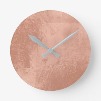 Copper Rose Gold Metallic Glass Gray Minimal Round Clock