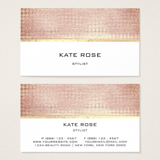 Copper Rose Gold Peach Pink White Stylist Business