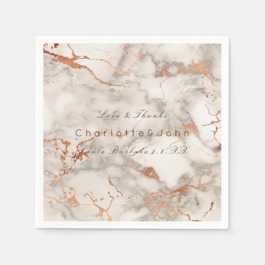 Copper Rose Gold White Gray Marble Party VIP