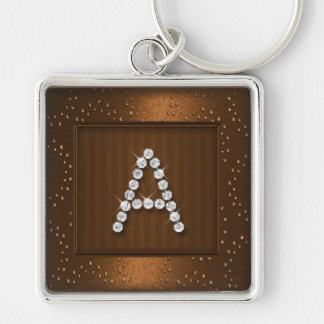Copper Shimmer and Sparkle with Monogram Key Ring