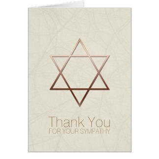 Copper Star of David Jewish Sympathy Thank You Card