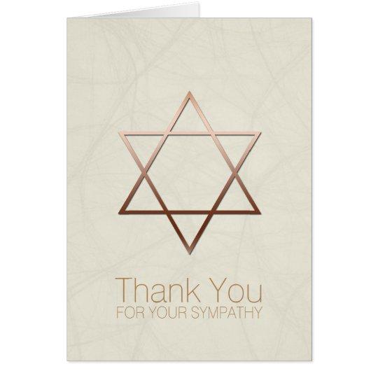 Copper Star of David Jewish Sympathy Thank You