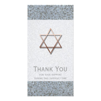 Copper Star of David Stone 1 Sympathy Thank You Personalised Photo Card