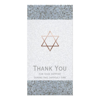 Copper Star of David Stone 2 Sympathy Thank You Customised Photo Card