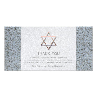 Copper Star of David Stone 3 Sympathy Thank You Customized Photo Card