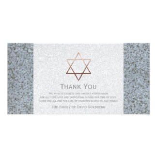 Copper Star of David Stone 4 Sympathy Thank You Personalized Photo Card