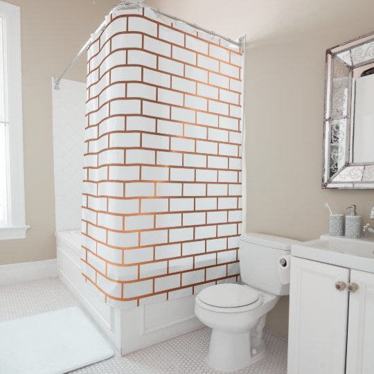 Copper Subway Tile Pattern Shower Curtain