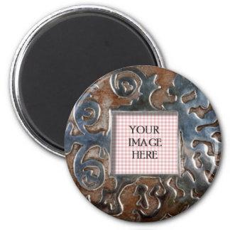 Copper Swirls Round Template 6 Cm Round Magnet