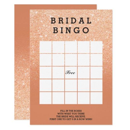 Copper tan faux glitter bridal bingo card