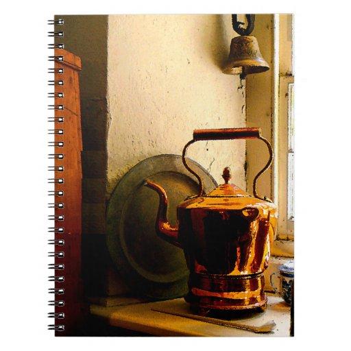 Copper Tea Kettle on Windowsill Spiral Notebook