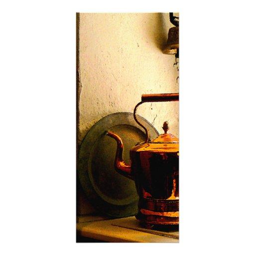 Copper Tea Kettle on Windowsill Rack Card Design