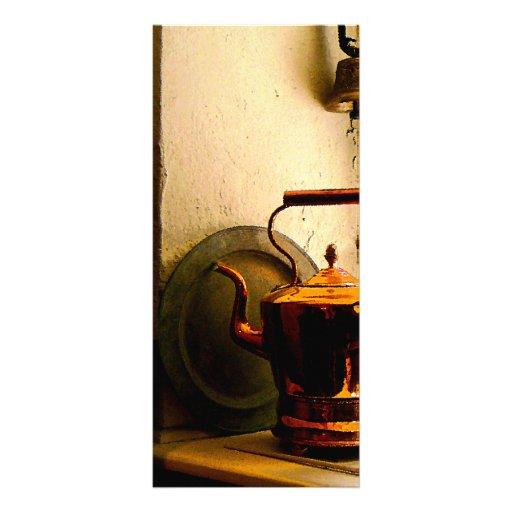Copper Tea Kettle on Windowsill Rack Card