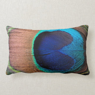 Copper/Teal/Blue Peacock Feather Lumbar Cushion