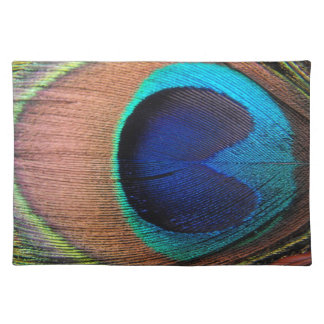 Copper/Teal/Blue Peacock Feather Placemat