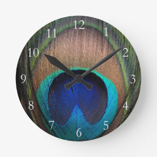 Copper/Teal/Blue Peacock Feather Round Clock