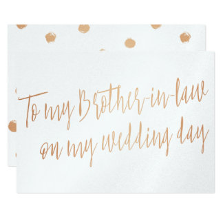 "Copper ""To my brother-in-law on my wedding day"" 13 Cm X 18 Cm Invitation Card"