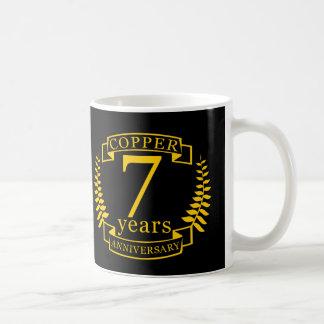 Copper wedding anniversary 7  years coffee mug