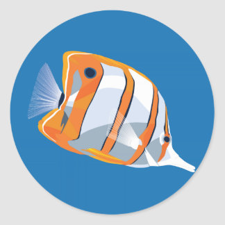 Copperbanded butterfly fish round sticker