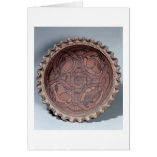 Coptic cup, painted terracotta with swag borders, card