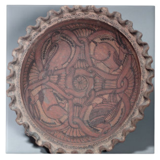 Coptic cup, painted terracotta with swag borders, large square tile