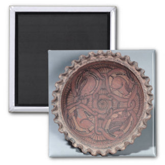 Coptic cup, painted terracotta with swag borders, square magnet