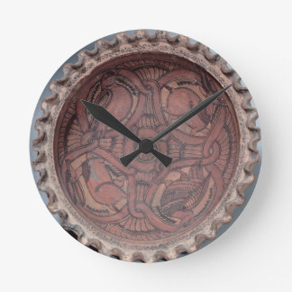 Coptic cup, painted terracotta with swag borders, wall clock