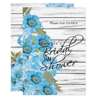 Copule Bridal Shower Blue Flowers on White Wood Card