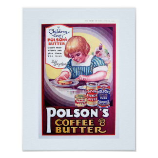 Copy 1930 Old Ad - India: Polson's Coffee & Butter Poster