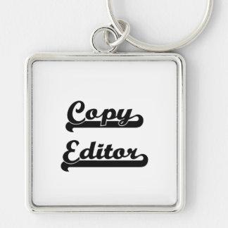 Copy Editor Classic Job Design Silver-Colored Square Key Ring
