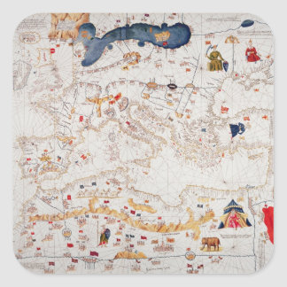 Copy of Catalan Map of Europe, North Africa Square Sticker