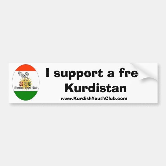 Copy of kycflagg, I support a free Kurdistan, w... Bumper Sticker
