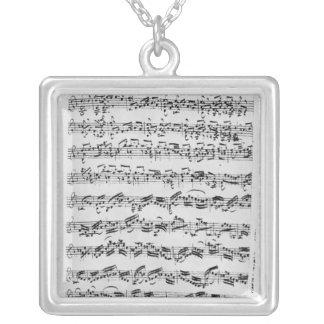 Copy of 'Partita in D Minor for Violin' Square Pendant Necklace