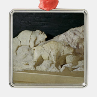Copy of sculpture of bisons, Le Silver-Colored Square Decoration