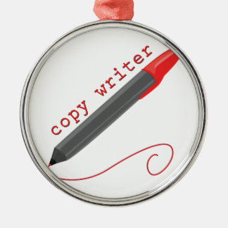 Copy Writer Silver-Colored Round Decoration