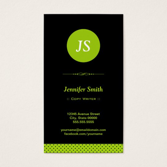 Copy Writer - Stylish Apple Green Business Card