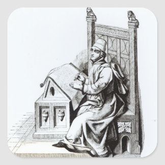 Copyist Writing upon a Sheet of Vellum Square Sticker