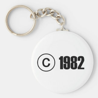 Copyright 1982 basic round button key ring