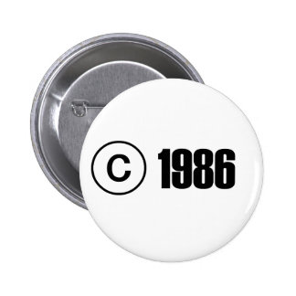 Copyright 1986 6 cm round badge