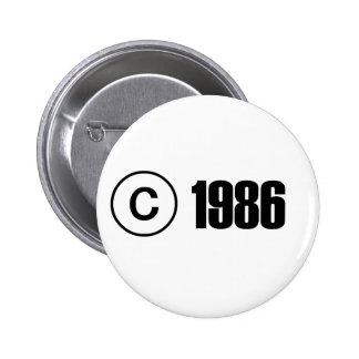 Copyright 1986 6 cm round badge
