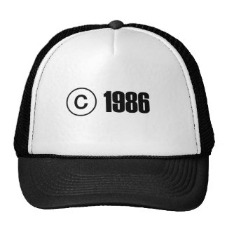 Copyright 1986 mesh hats