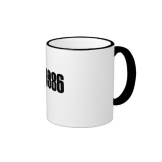 Copyright 1986 ringer coffee mug