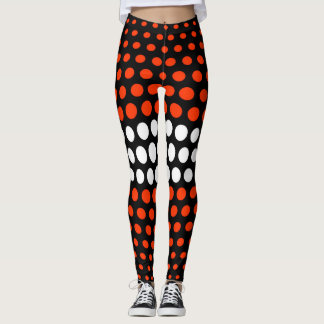 Coquelicot and White Polka Dot Pattern Leggings