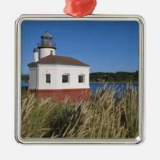 Coquille River lighthouse, Oregon, USA Silver-Colored Square Decoration