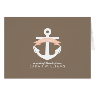 Coral Anchor Nautical Baby Shower Note Card